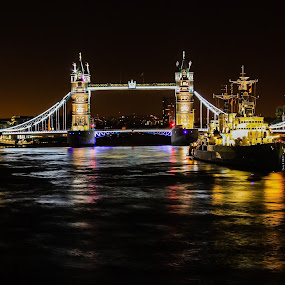London Tower Bridge  by Nachau Kirwan - Buildings & Architecture Bridges & Suspended Structures ( london, thames, neon, night, boat, light, river, , bridge )