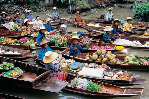 Thailand-floating-market - The floating market in Bangkok, Thailand.
