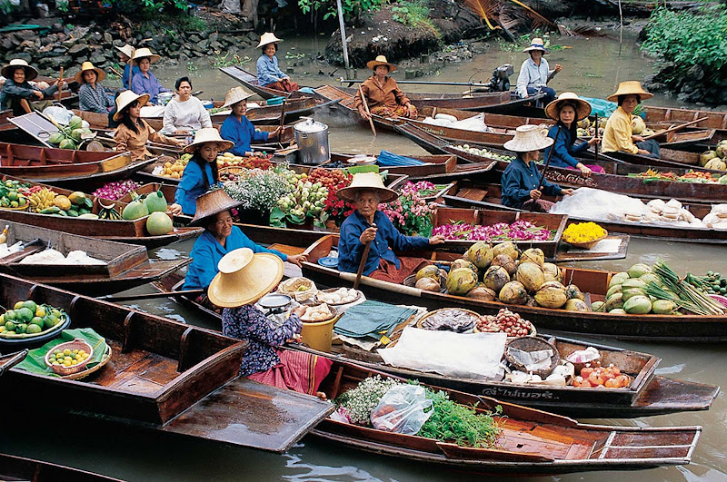 The floating market in Bangkok, Thailand.