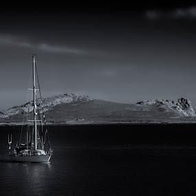by Jacek Steplewski - Black & White Landscapes ( black and white, sea, seascape, sailboat, sail boat, island,  )