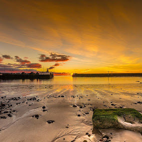 by Ben Leng - Landscapes Sunsets & Sunrises ( sand, harbour, stone, rock, beach, sun, tranquil, tay, arbroath, dundee, angus, tayside, sunshine, sunrise )