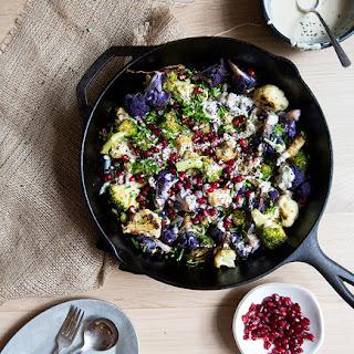Broccoli + Cauliflower + Pomegranates With Tahini