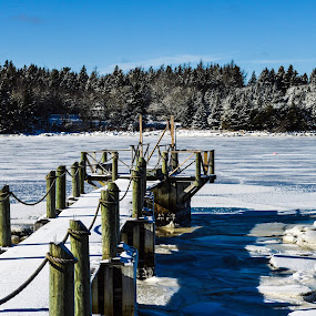 Icy Dock by Mikahla Dorey - Landscapes Waterscapes ( sky, ice, ocean, dock )