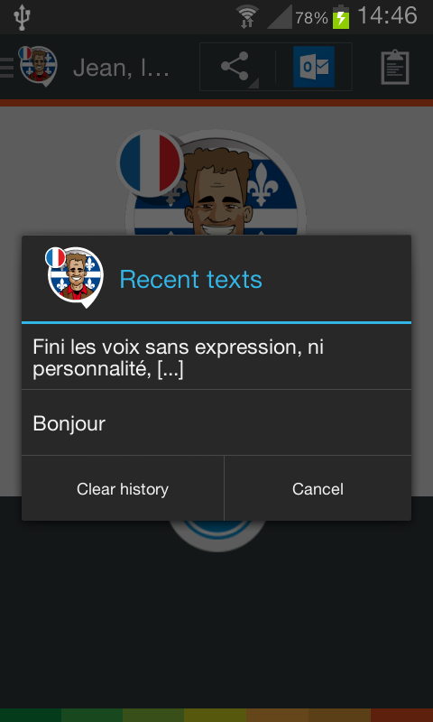 Jean, the Quebec voice (French)- screenshot
