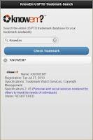 Screenshot of KnowEm USPTO Trademark Search