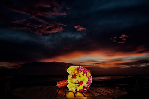 Sweet Flower Sunset by Christie Lynn - Flowers Flower Arangements ( sunset, flower bouquet, nicaragua, flowers, beach wedding, flower, bouquet )