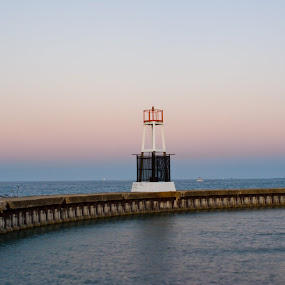 Water Wall by Brad Kalpin - Landscapes Travel ( water, lighthouse, chicago, concrete, wall, city )