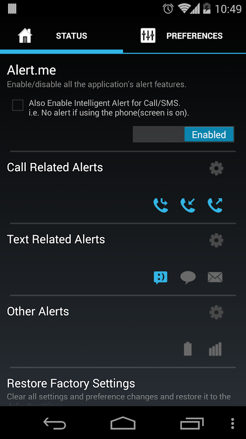 Missed Call/SMS Alert.me - screenshot