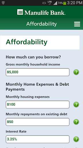 Manulife Bank Mortgage Calc