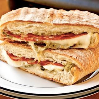 Soppressata Panini With Mozzarella And Pesto.