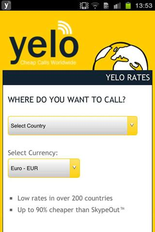 Yeloworld - Cheap Calls - screenshot