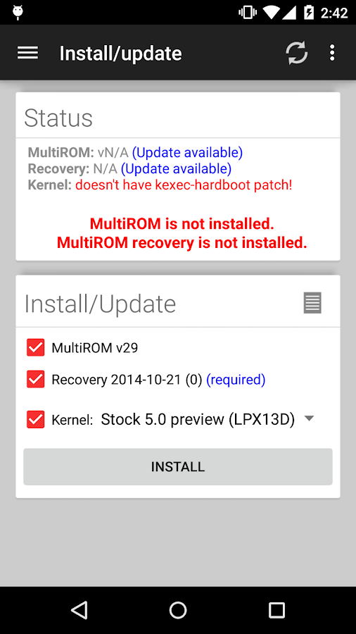 MultiROM Manager- screenshot