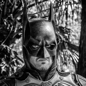 Where is Robin by Amro Labib - People Musicians & Entertainers ( natural light, face, cartoon, black and white, stare, mask, eyes, character, looking, blackandwhite, pose, nature up close, black, sydney, custom, look, scary, hero, posing, portrait, national geographic, australia, suit, summer, batman, bat, daylight )