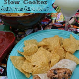 Slow Cooker Sour Cream Salsa Chicken.