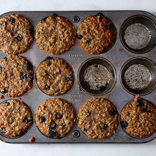 Blueberry, Oatmeal and Flaxseed Muffins.