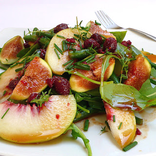 Green Bean, Rocket, Peach And Fig Salad With A Raspberry And Balsamic Vinegar Dressing.