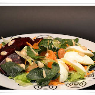 Spinach, Beet, and Egg Salad.