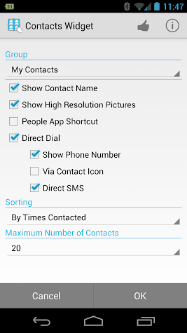 Resizable Contacts Widget Pro Screenshot