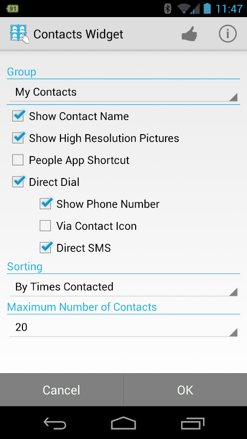 Resizable Contacts Widget Pro - screenshot