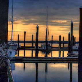 Sunset on the Marina by Keith Wood - Landscapes Waterscapes ( kewphoto, hdr, sunset, marina, keith wood )
