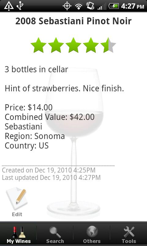 Wine - List, Ratings & Cellar- screenshot