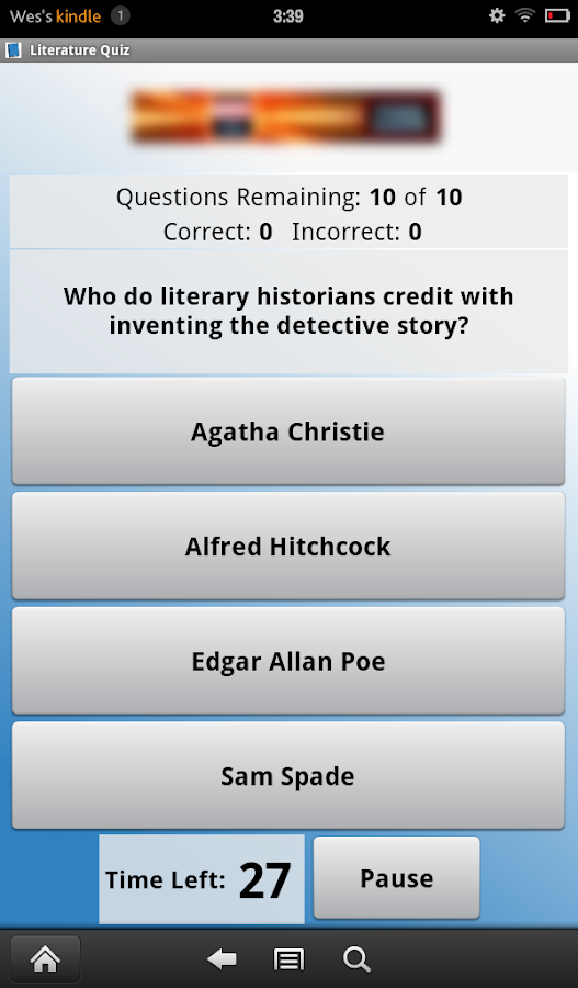 Literature Quiz- screenshot