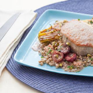 Braised Pork Chops & Roasted Leeks with Cherry Gastrique over Kasha.