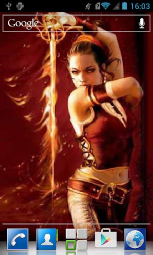 Warrior with flaming sword LWP