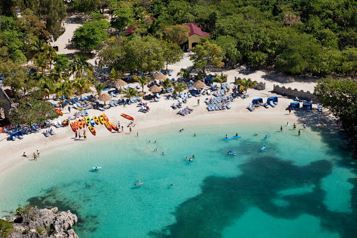 Labadee-beach-aerial-Royal-Caribbean - Water sports, snorkeling, kayaking and parasailing are all part of the action at Labadee, Royal Caribbean's 260-acre private beach resort on the north coast of Haiti.
