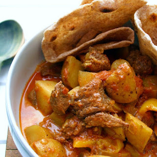 Slow Cooked Beef And Potato Curry With Homemade Chapati