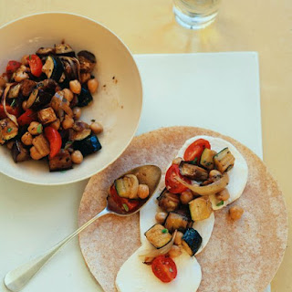 Roasted Eggplant, Zucchini, and Chickpea Wraps.