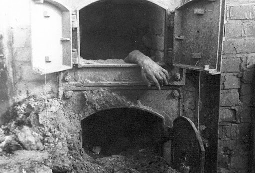 A furnace in which inmates of the Stutthof extermination camp were burnt. East Prussia. 1945