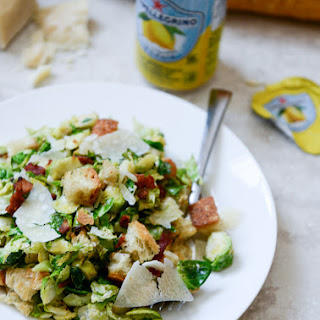 Warm Brussels Caesars with Bacon Ciabatta Croutons