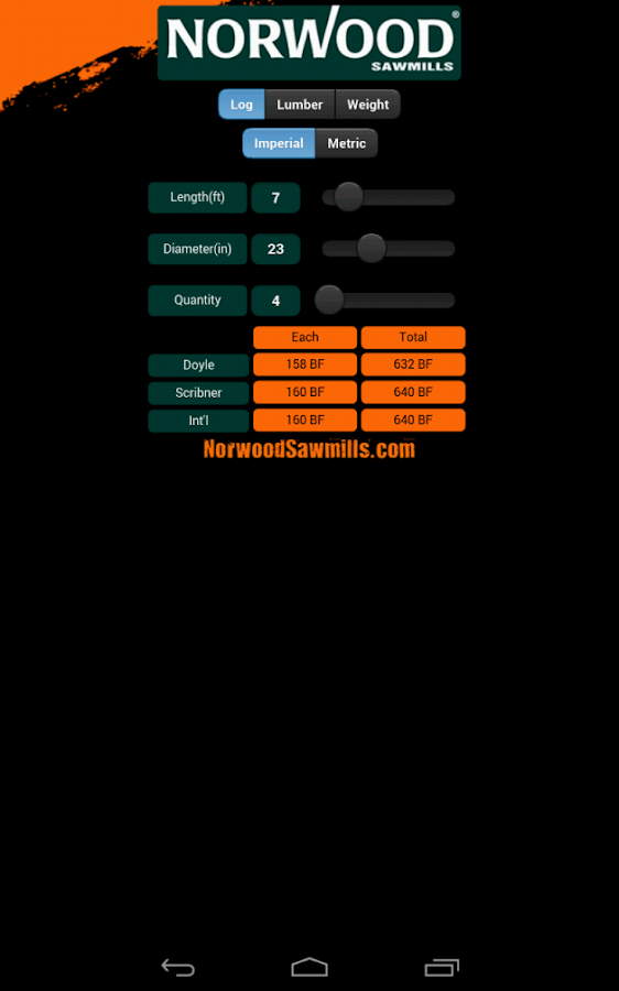 Norwood Sawmills Calculator- screenshot