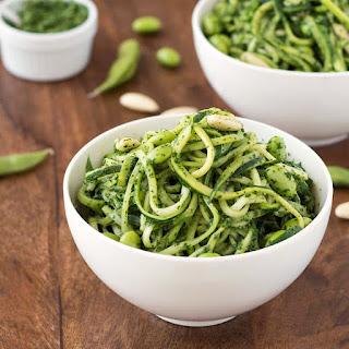 Zoodles with Kale Pesto & Edamame