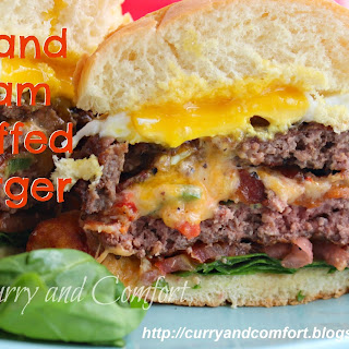 Grand Slam Stuffed Burger (Bacon, Jalapeno Pimento Cheese Topped with an Egg)