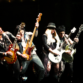 Alice Cooper's Band by Marsha Biller - People Musicians & Entertainers ( cooper_band, group stage, four, guitarists, , Lighting, moods, mood lighting )