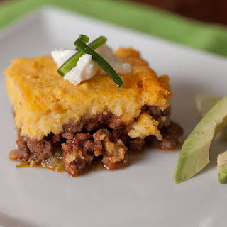 Green Chile, Beef & Corn Pudding Casserole.