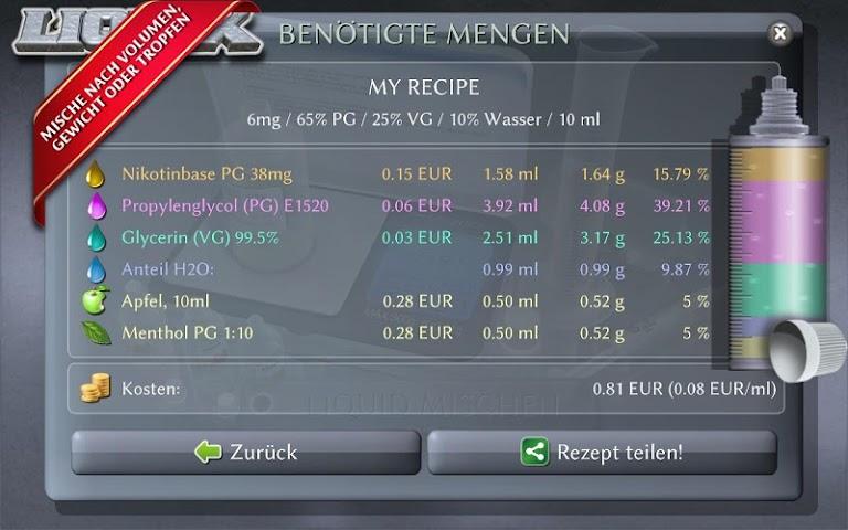 android LIQUIX Liquidrechner & Manager Screenshot 13