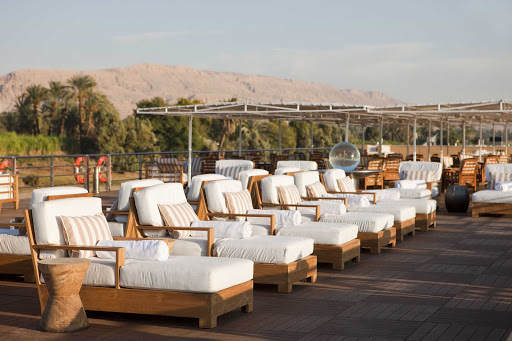 Uniworld-River-Tosca-sundeck-4 - Guests will enjoy the awe-inspiring views of Egypt's Nile as Uniworld's River Tosca makes her voyage.