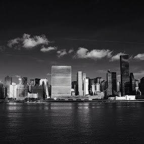 le Monde by Katsuhiro Kaneko - City,  Street & Park  Skylines ( trump world tower, skyline, monochrome, black and white, low key, empire state building, manhattan, nyc, new york, ny, un, city, turtle bay, east river, new york city, united nations, midtown east, Urban, City, Lifestyle,  )