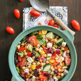The Easiest Chickpea Greek Salad