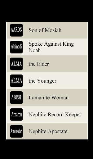 Book of Mormon Lists