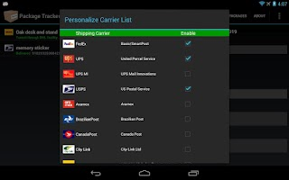 Screenshot of Package Tracker for Tablet