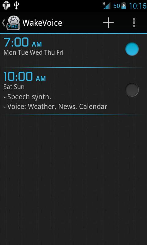 WakeVoice - vocal alarm clock - screenshot