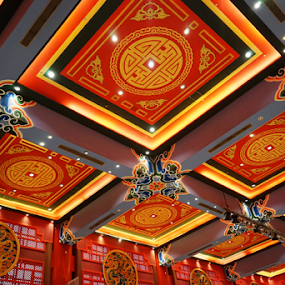 The red dragon by Nadir Aziz - Buildings & Architecture Other Interior ( red, ceiling, pavilion, geometric, chinese, Architecture, Ceilings, Ceiling, Buildings, Building,  )