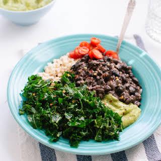 Kale, Black Bean and Avocado Burrito Bowl.