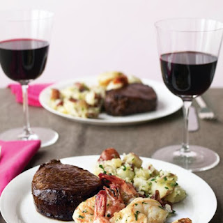 Steak and Shrimp with Parsley Potatoes.