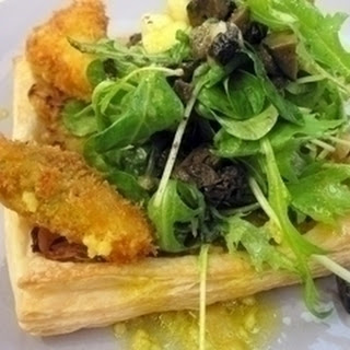 Chicory Marmalade Tart With Blue Cheese, Pickled Walnuts And Pears.