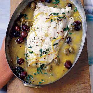 Roasted Pacific Cod with Olives and Lemon.